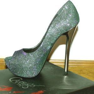 Fabulous Metallic Bel-Air Peep Toe Heel